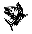 monochrome with a carp on vector image vector image