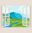mountain peaks and river open window with a vector image vector image