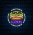 neon glowing sign of tortas in circle frame vector image