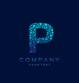 p letter logo science technology connected dots vector image vector image