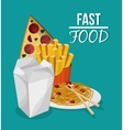 Pizza noodle fries and fast food design vector image