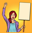 pop art woman protesting with a poster political vector image vector image