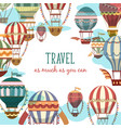 retro cartoon flying air balloon banner or sign vector image vector image
