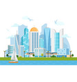 river side landscape with skyscrapers and subway vector image vector image