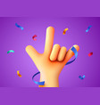 rock sign with confetti party or rock concert vector image