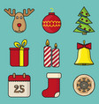 set christmas toys in flat style vector image vector image
