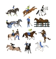 set horse riders icons flat design vector image vector image