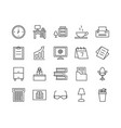 set office related line icons vector image vector image