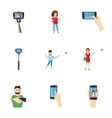 Shooting on cell phone icons set cartoon style vector image vector image