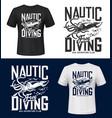 squid print t-shirt mockup sea ocean diving club vector image vector image