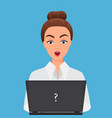stylish surprised office young woman with laptop vector image vector image