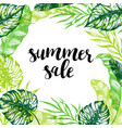 summer background with green palm leaves vector image