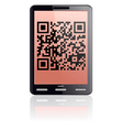 tablet computer with qr code vector image vector image