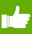 thumb up sign icon green vector image