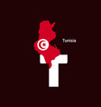 tunisia initial letter country with map and flag vector image
