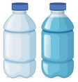 two bottles with and without water vector image