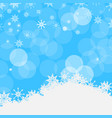 winter blue background with snowflakes snow and vector image vector image
