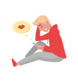 young blond guy sitting with mobile phone in hand vector image