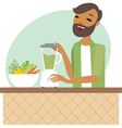 Young man preparing smoothie vector image