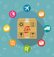 24 hours delivery service flat design vector image