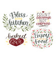 4 hand-lettering quotes about food bless this vector image