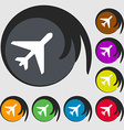 airplane icon sign Symbol on eight colored buttons vector image vector image