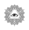 All seeing eye pyramid symbol Tattoo vector image