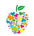 Apple shape made of hearts vector image