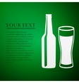 Bottle and glass of beer flat icon on green vector image vector image