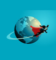 businessman flying around the world vector image vector image