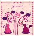 card with cat and hearts vector image