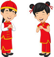 cartoon chinese kids wearing traditional costume vector image vector image