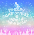 Christmas card with lettering winter landscape and vector image vector image