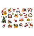 Classic Beautiful Christmas Stickers On White vector image vector image