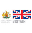 coat arms and national flag britain vector image