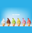 colorful ice cream cone different fruit flavors vector image vector image
