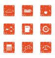 computing machine icons set grunge style vector image vector image