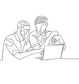 continuous one line drawing two mans work together vector image