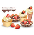 delicious sweets and desserts with fruits vector image vector image