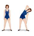 elegant women silhouettes doing fitness exercises vector image vector image