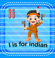 flashcard letter i is for indian vector image vector image