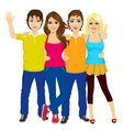 four students making victory sign vector image vector image