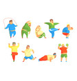 funny chubby man character doing gym workout set vector image vector image