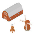 isometric red barn windmill and water aerating vector image vector image