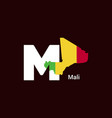 mali initial letter country with map and flag vector image