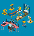 manufacturing work isometric composition vector image vector image