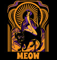 meow hand drawn pretty girl vector image vector image