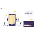 mobile app development team landing page software vector image
