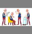 old man poses set elderly people senior vector image vector image