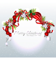 Red Silver Christmas Ornament Background vector image vector image